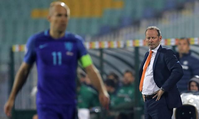 """<span class=""""element-image__caption"""">Danny Blind, right, looks on as his captain, Arjen Robben, and team fell to a 2-0 defeat in Bulgaria, ending Blind's 20-month reign as manager.</span> <span class=""""element-image__credit"""">Photograph: Vadim Ghirda/AP</span>"""