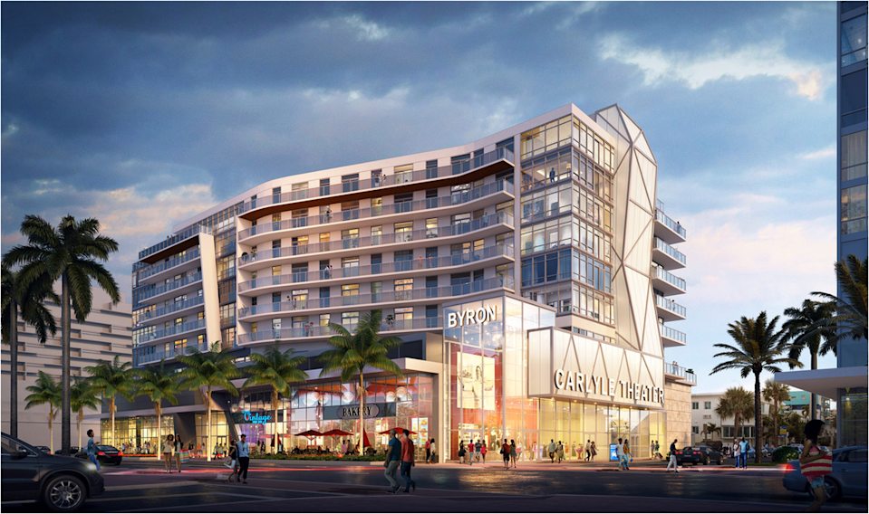A rendering shows what the Byron Carlyle Theater site would look like under a proposal from developers Menin Hospitality and KGTC.