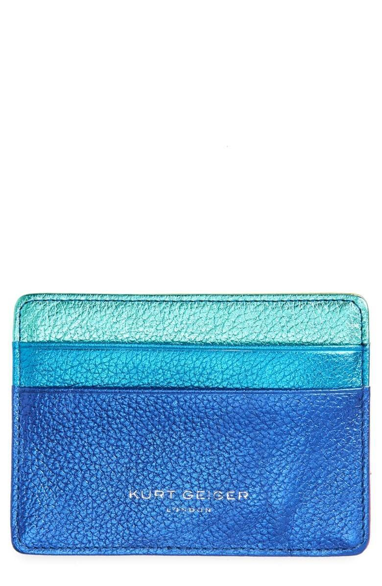 <p>They'll always be able to find this fun <span>Kurt Geiger London Metallic Leather Card Holder</span> ($39) in their bag.</p>