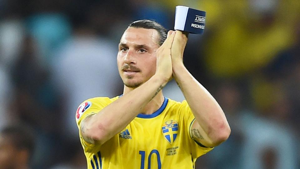 Zlatan is seen here applauding fans after playing for the Swedish national team.