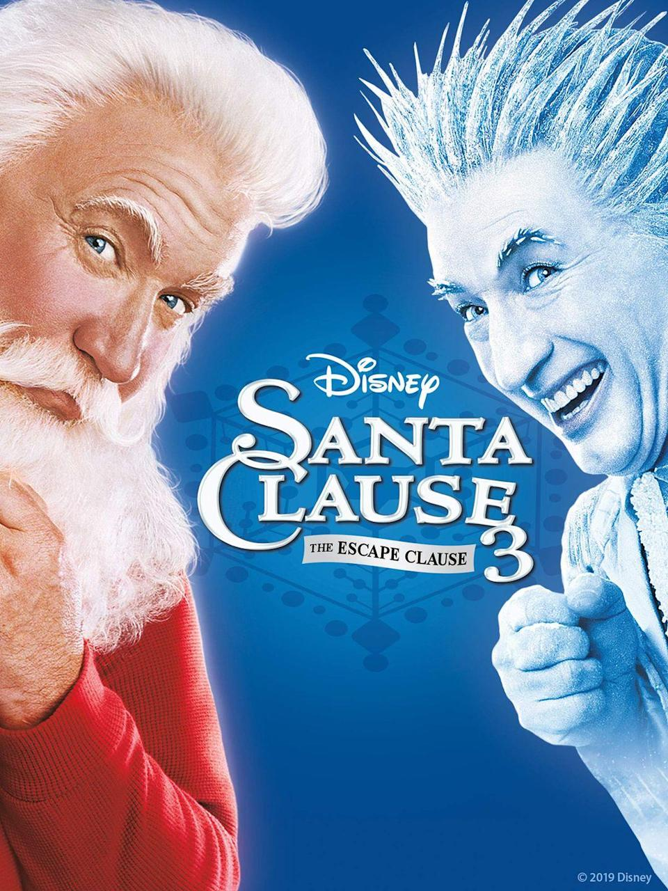 "<p><a class=""link rapid-noclick-resp"" href=""https://go.redirectingat.com?id=74968X1596630&url=https%3A%2F%2Fwww.disneyplus.com%2Fmovies%2Fthe-santa-clause-3-the-escape-clause%2F7CW6rADl8JsT&sref=https%3A%2F%2Fwww.womansday.com%2Flife%2Fentertainment%2Fg34694772%2Fdisney-christmas-movies%2F"" rel=""nofollow noopener"" target=""_blank"" data-ylk=""slk:STREAM NOW"">STREAM NOW</a></p><p>In the final movie in the <em>Santa Clause</em> trilogy, Scott (Tim Allen) must fend off Jack Frost (Martin Short). Jack Frost plans to take over the North Pole, leaving Scott to join forces with his team of elves in order to stop him.</p>"
