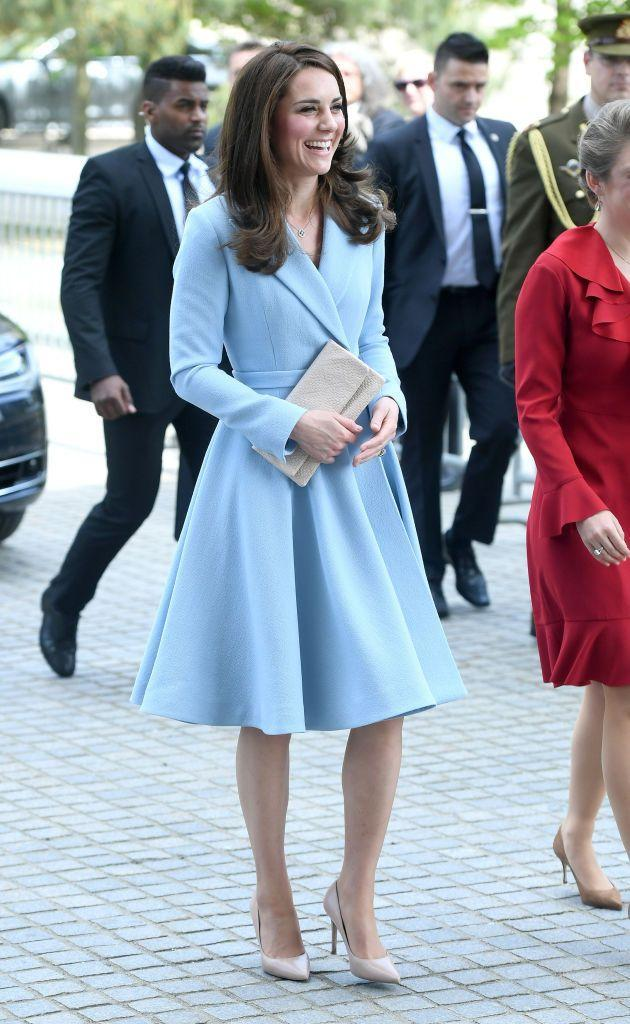"""<p>Taking on the role of <a href=""""https://www.townandcountrymag.com/society/tradition/a9639696/kate-middleton-luxembourg-visit/"""" rel=""""nofollow noopener"""" target=""""_blank"""" data-ylk=""""slk:&quot;Brexit Ambassador,&quot;"""" class=""""link rapid-noclick-resp"""">""""Brexit Ambassador,""""</a> the Duchess Kate visited Luxembourg to strengthen ties between the United Kingdom and the European Union. For her first event on the solo trip, she paired a baby blue coat dress by Emilia Wickstead with nude L.K Bennett pumps and a matching clutch.</p>"""