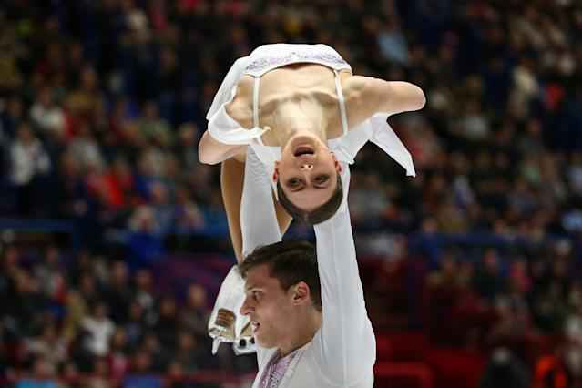 Figure Skating - World Figure Skating Championships - The Mediolanum Forum, Milan, Italy - March 22, 2018 Russia's Natalia Zabiiako and Alexander Enbert during the Pairs Free Skating REUTERS/Alessandro Bianchi