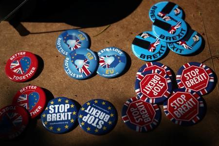 Anti-brexit badges are pictured in London