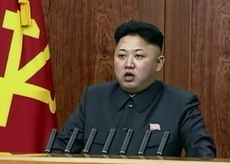 """In this image taken from video made available on Wednesday, Jan. 1, 2014, North Korean leader Kim Jong Un delivers an annual New Year's Day message in Pyongyang, North Korea. Kim boasted Wednesday that North Korea enters the new year on a surge of strength because of the elimination of """"factionalist filth"""" - a reference to the young leader's once powerful uncle, whose execution last month raised questions about Kim's grip on power. (AP Photo/KRT via AP Video) TV OUT, NORTH KOREA OUT"""