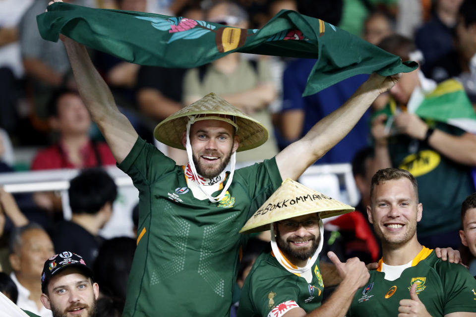 South African fans react as they wait for the Rugby World Cup Pool B game at Shizuoka Stadium Ecopa between South Africa and Italy, in Shizuoka, Japan, Friday, Oct. 4, 2019. (AP Photo/Shuji Kajiyama)
