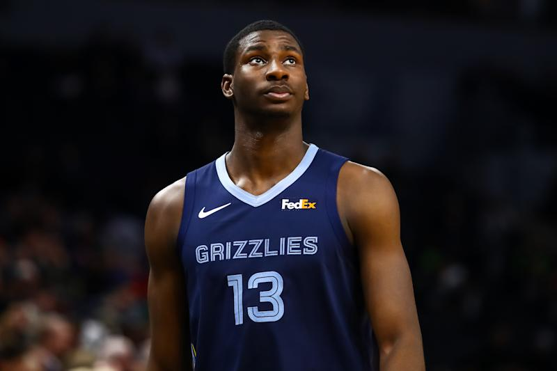 MINNEAPOLIS, MN - JANUARY 30: Jaren Jackson Jr. #13 of the Memphis Grizzlies looks on after getting a technical foul in the second quarter against the Minnesota Timberwolves at Target Center on January 30, 2019 in Minneapolis, Minnesota. NOTE TO USER: User expressly acknowledges and agrees that, by downloading and or using this Photograph, user is consenting to the terms and conditions of the Getty Images License Agreement. (Photo by David Berding/Getty Images)