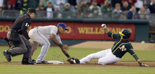 Texas Rangers third baseman Adrian Beltre, left, tags out Oakland Athletics' Jed Lowrie in the third inning of a baseball game Monday, June 16, 2014, in Oakland, Calif. (AP Photo/Ben Margot)