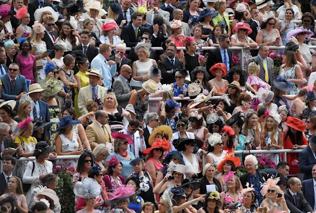 Horse Racing - Royal Ascot - Ascot Racecourse, Ascot, Britain - June 22, 2017 Racegoers during Ladies Day at Ascot REUTERS/Toby Melville