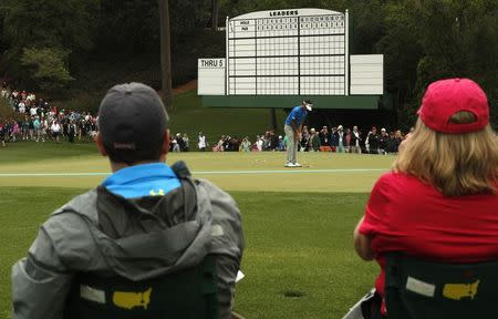 Bubba Watson of the U.S. practices for the 2017 Masters at Augusta National Golf Course in Augusta