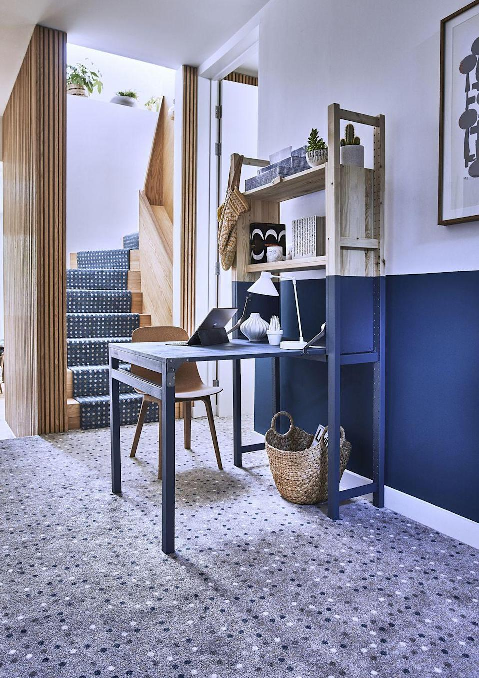 """<p>Why not use your staircase to add a pop of colour. This blue stair carpet from Carpetright is ideal for jazzing up an all-white hallway — and will cheer up any rainy day. </p><p>Pictured: <a href=""""https://www.carpetright.co.uk/carpets/condo-wilton-carpet/"""" rel=""""nofollow noopener"""" target=""""_blank"""" data-ylk=""""slk:'Condo Patterned Carpet' by Carpetright"""" class=""""link rapid-noclick-resp"""">'Condo Patterned Carpet' by Carpetright</a></p>"""