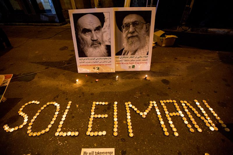 People of Iran in various parts of the country, especially the people of the Iranian capital, lit candles and mourned the night of General Qasem Soleimani's burial, in Tehran, Iran, on June 7, 2019. Mourners packed the streets of Tehran for ceremonies to pay homage to Soleimani, who spearheaded Iran's Middle East operations as commander of the Revolutionary Guards' Quds Force and was killed in a US drone strike on January 3 near Baghdad airport. (Photo by Hamid Vakili/NurPhoto via Getty Images)