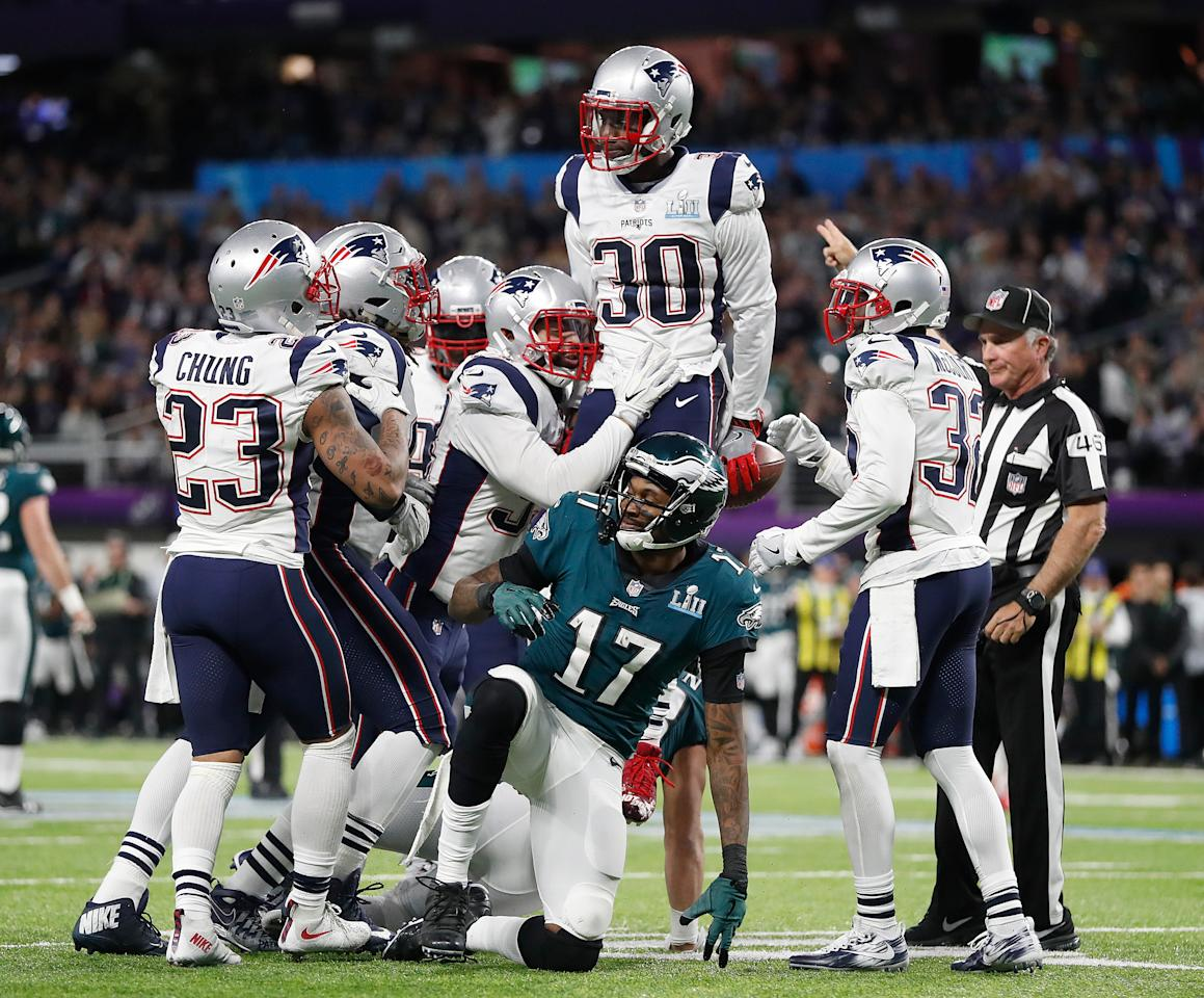 <p>New England Patriots' Duron Harmon (30) celebrates his interception of a pass intended for Philadelphia Eagles' Alshon Jeffery (17) during the first half of the NFL Super Bowl 52 football game Sunday, Feb. 4, 2018, in Minneapolis. (AP Photo/Jeff Roberson) </p>