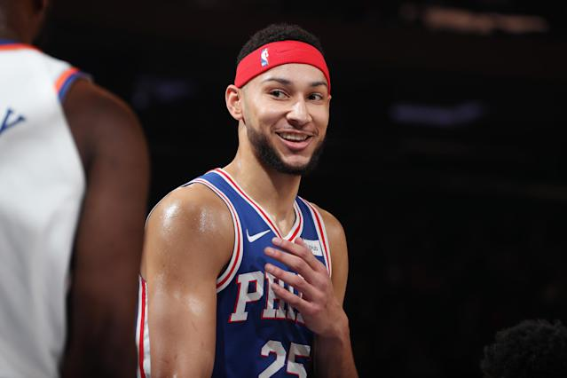 Ben Simmons had some fun during the All-Star draft. (Photo by Nathaniel S. Butler/NBAE via Getty Images)