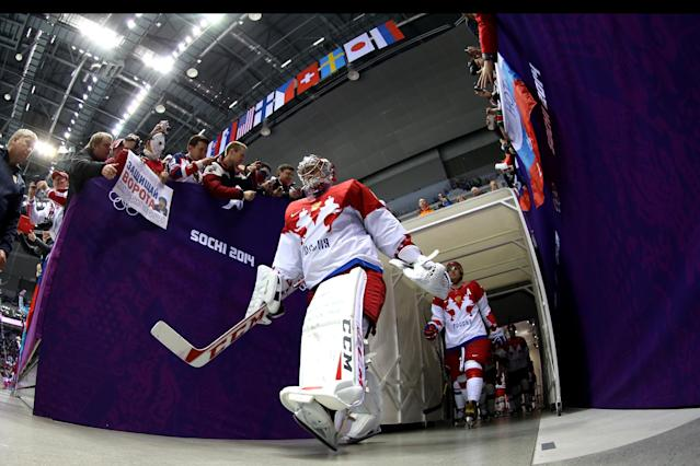 SOCHI, RUSSIA - FEBRUARY 19: Semyon Varlamov #1 of Russia enters the arena during the Men's Ice Hockey Quarterfinal Playoff on Day 12 of the 2014 Sochi Winter Olympics at Bolshoy Ice Dome on February 19, 2014 in Sochi, Russia. (Photo by Bruce Bennett/Getty Images)