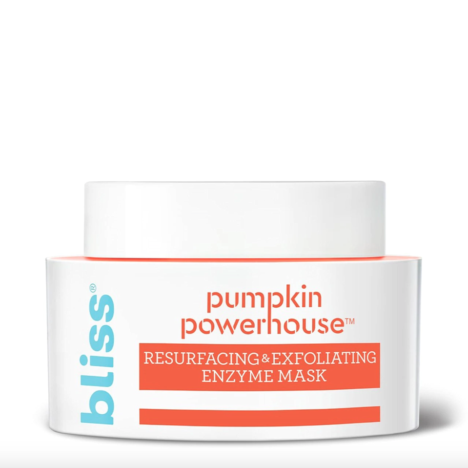"<p>If your pores are feeling super-clogged, Bliss's Pumpkin Powerhouse Resurfacing & Exfoliating Enzyme Mask will do the trick. Packed with pumpkin enzymes and AHAs like lemon peel powder and carrot extract — as well as soothing oils — it leaves skin brighter, softer, and more even-toned. Use once or twice a week to give your complexion an instant pick-me-up.</p> <p><strong>$16</strong> (<a href=""https://shop-links.co/1719308669530333903"" rel=""nofollow noopener"" target=""_blank"" data-ylk=""slk:Shop Now"" class=""link rapid-noclick-resp"">Shop Now</a>)</p>"