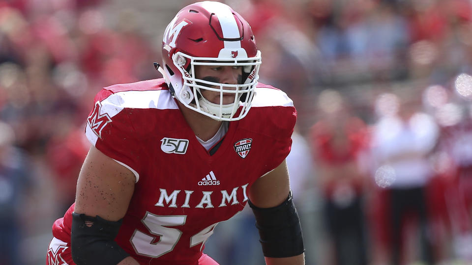 Miami (Ohio) left tackle Tommy Doyle is a well-regarded NFL prospect. (AP Photo/Tony Tribble)