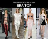 <p>New York was all about the crop top, but leave it to the Brits to get even naughtier, paring the look down to just a skimpy bra. The barely there feminist (?) look was seen at JW Anderson and Versus. Photo: IMAXtree</p>