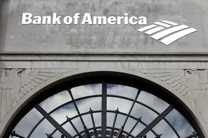 """In this Wednesday, March 27, 2013 photo, the Bank of America logo is displayed on the facade of the Bank of America Building in downtown Providence, R.I. The Art Deco-style skyscraper, tallest in the state, is losing its last tenant when the bank's lease expires in April. The building is known to some as the """"Superman building,"""" for its similarity to the Daily Planet headquarters in the old Superman TV show. (AP Photo/Steven Senne)"""