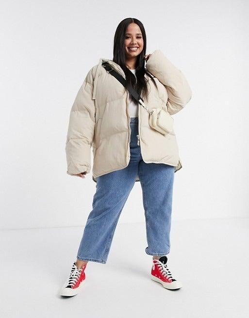 """<br><br><strong>ASOS DESIGN Curve</strong> Oversized Jersey Hooded Puffer Jacket, $, available at <a href=""""https://www.asos.com/asos-curve/asos-design-curve-oversized-jersey-hooded-puffer-jacket-in-cream/prd/14644767?"""" rel=""""nofollow noopener"""" target=""""_blank"""" data-ylk=""""slk:ASOS"""" class=""""link rapid-noclick-resp"""">ASOS</a>"""