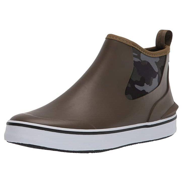 """<p><strong>Hush Puppies</strong></p><p>amazon.com</p><p><strong>$79.95</strong></p><p><a href=""""https://www.amazon.com/dp/B08DXSSPF8?tag=syn-yahoo-20&ascsubtag=%5Bartid%7C10055.g.29091176%5Bsrc%7Cyahoo-us"""" rel=""""nofollow noopener"""" target=""""_blank"""" data-ylk=""""slk:Shop Now"""" class=""""link rapid-noclick-resp"""">Shop Now</a></p><p>If you prefer sneakers over boots, <strong>this hybrid shoe blends both styles into one.</strong> It has a fully waterproof rubber upper with an easy slip-on opening along with a soft lining and comfy footbed. And despite its technical features, it looks more like a slip-on sneaker than a rain boot.</p>"""