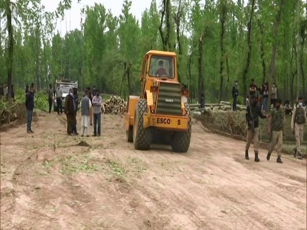Construction of the COVID-19 hospital underway in Budgam. (Photo/ANI)