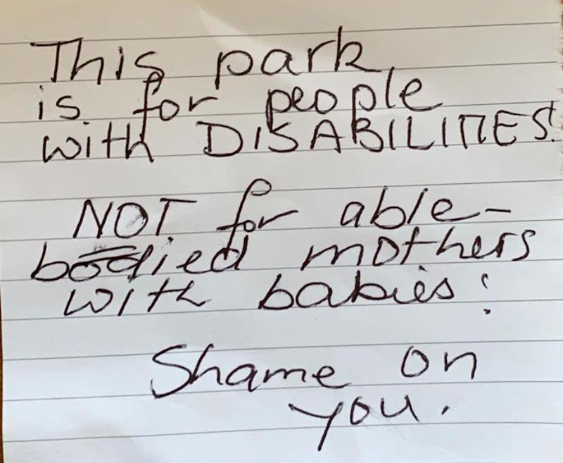 A mum, who lives in 'constant pain', was left this note on her car by someone questioning her level of disability.
