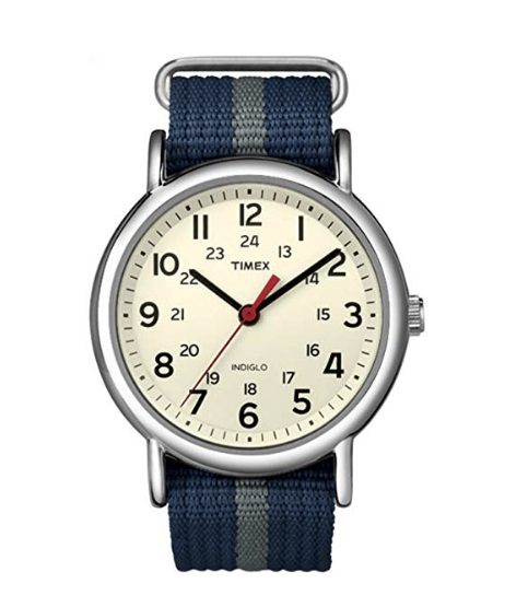 """<p><strong>Timex</strong></p><p>amazon.com</p><p><strong>$39.70</strong></p><p><a href=""""https://www.amazon.com/dp/B004VR9J0A?tag=syn-yahoo-20&ascsubtag=%5Bartid%7C10055.g.28414150%5Bsrc%7Cyahoo-us"""" rel=""""nofollow noopener"""" target=""""_blank"""" data-ylk=""""slk:Shop Now"""" class=""""link rapid-noclick-resp"""">Shop Now</a></p><p>Give him a way of telling time without skipping his phone out of his pocket: This watch comes with an easy, slip-on nylon band. </p>"""