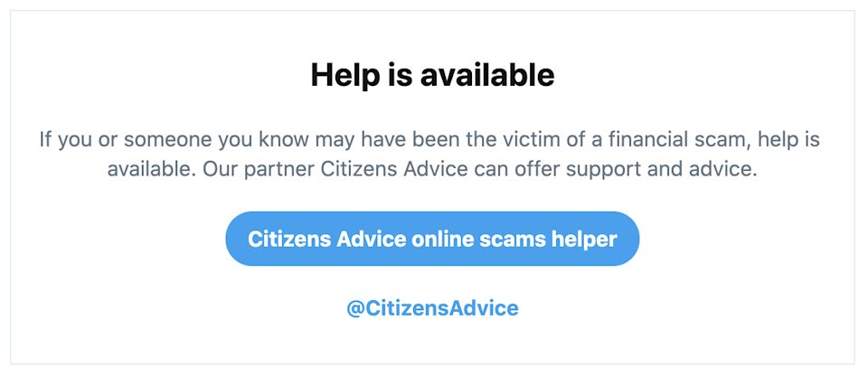 Twitter prompt offering support for victims of online scams created alongside Citizens Advice.