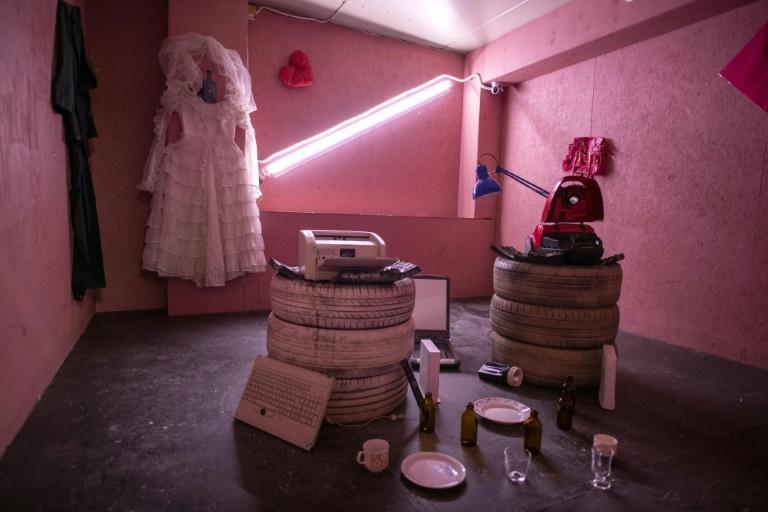 The pandemic is by far the main cause of anger but a divorce-themed smash-up room also proves popular (AFP/Olivier MORIN)