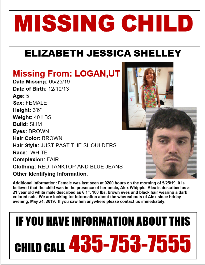 Elizabeth Jessica Shelley, 5, was reported missing Saturday morning from Logan, Utah. Logan police and other agencies continued their search for the girl Sunday.