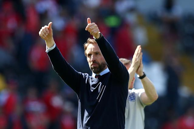 Southgate celebrates following victory in the UEFA Nations League Third Place Playoff against Switzerland (Photo by Jan Kruger/Getty Images)
