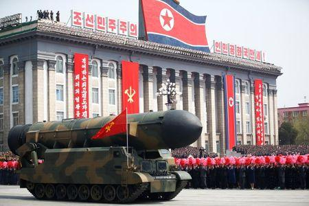 People cheer as a missile is driven past the stand during a military parade marking the 105th birth anniversary of country's founding father in Pyongyang
