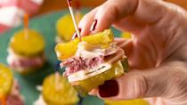 """<p>Here at Delish, we LOVE a good <a href=""""https://www.delish.com/cooking/recipe-ideas/a23872214/classic-reuben-sandwich-recipe/"""" rel=""""nofollow noopener"""" target=""""_blank"""" data-ylk=""""slk:Reuben Sandwich"""" class=""""link rapid-noclick-resp"""">Reuben Sandwich</a>. These little bites ditch the bread for a low-carb appetizer worth making over and over again.<br></p><p>Get the recipe from <a href=""""https://www.delish.com/cooking/recipe-ideas/a30326675/reuben-pickle-bites-recipe/"""" rel=""""nofollow noopener"""" target=""""_blank"""" data-ylk=""""slk:Delish"""" class=""""link rapid-noclick-resp"""">Delish</a>.</p>"""