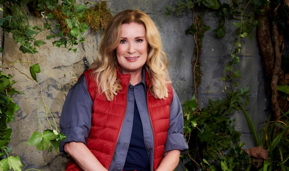 Beverley Callard led the celebs in a morning workout. (ITV)