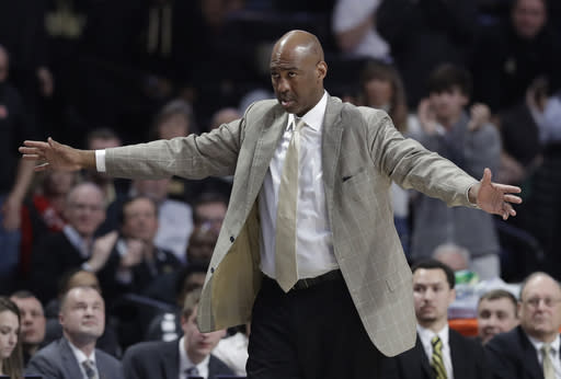 Wake Forest head coach Danny Manning directs his team during the second half of an NCAA college basketball game against North Carolina State in Winston-Salem, N.C., Tuesday, Jan. 15, 2019. (AP Photo/Chuck Burton)