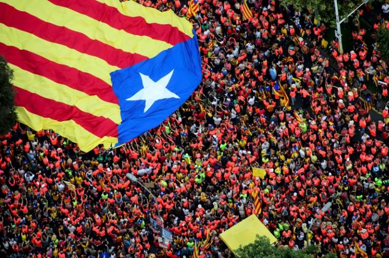 A giant Catalan flag is carried through the crowd as around a million people join a pro-independence demonstration in Barcelona to mark Catalonia's 'national day'
