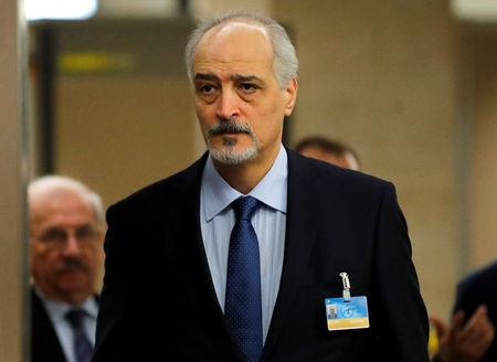 Syria's chief negotiator al-Ja'afari arrives for a meeting with UN Special Envoy for Syria de Mistura during the Intra Syria talks in Geneva