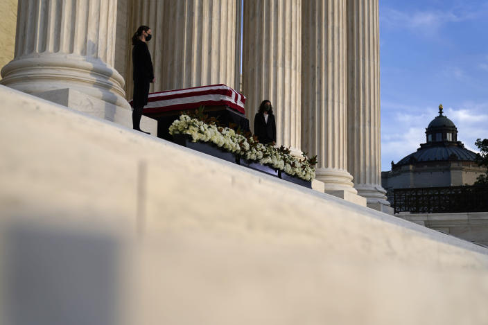 The flag-draped casket of Justice Ruth Bader Ginsburg lies in repose under the Portico at the top of the front steps of the U.S. Supreme Court building on Wednesday, Sept. 23, 2020, in Washington. Ginsburg, 87, died of cancer on Sept. 18. (AP Photo/Andrew Harnik, Pool)