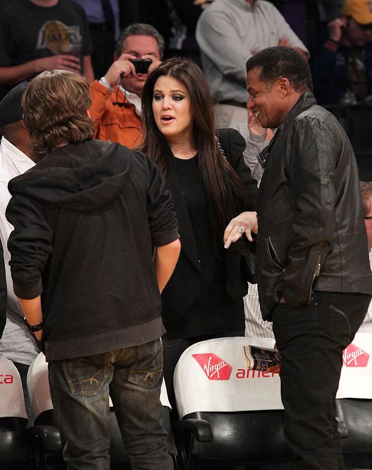 "Even though Khloe Kardashian is married to Laker forward Lamar Odom, the Jacksons managed to score better seats! Noel Vasquez/<a href=""http://www.gettyimages.com/"" target=""new"">GettyImages.com</a> - January 25, 2011"