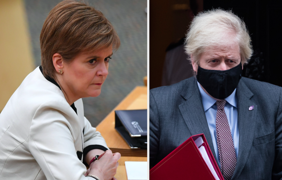 Nicola Sturgeon questioned whether Boris Johnson's trip to Scotland was 'essential' during the pandemic. (Getty)