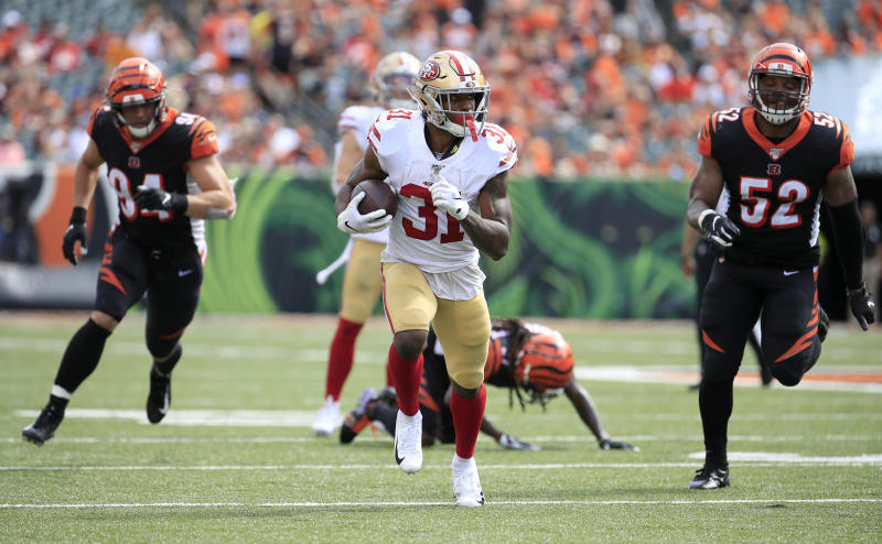 CINCINNATI, OHIO - SEPTEMBER 15: Raheem Mostert #31 of the San Francisco 49ers runs with the ball against the Cincinnati Bengals at Paul Brown Stadium on September 15, 2019 in Cincinnati, Ohio. (Photo by Andy Lyons/Getty Images)