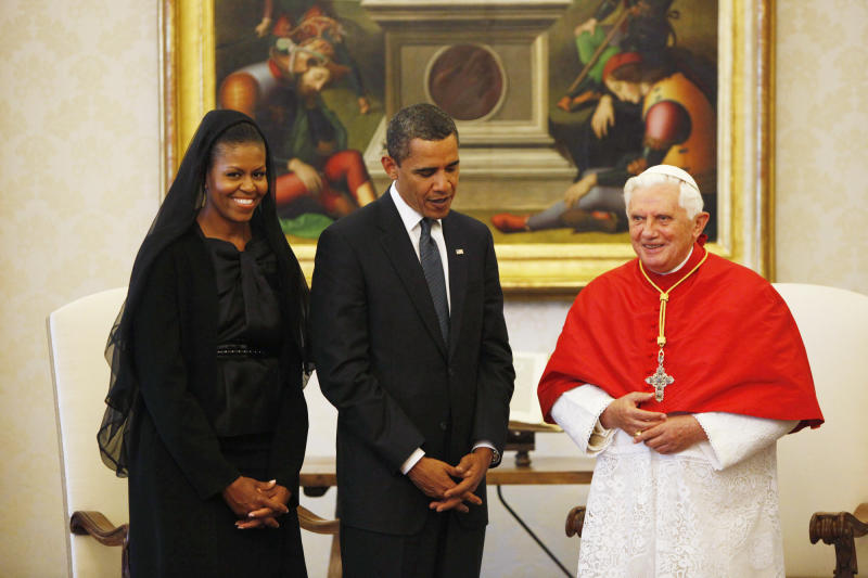 FILE - In this July 10, 2009, file photo, President Barack Obama and first lady Michelle Obama meet with Pope Benedict XVI, Friday, at the Vatican. President Obama is scheduled to meet Pope Francis for the first time on Thursday, March 27, 2014, at the Vatican. (AP Photo/Haraz N. Ghanbari)