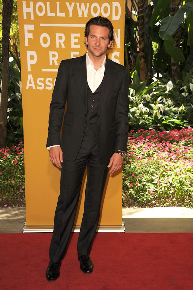 Bradley Cooper arrives at the Hollywood Foreign Press Association's 2012 Luncheon held at the Beverly Hill Hotel on August 9, 2012.
