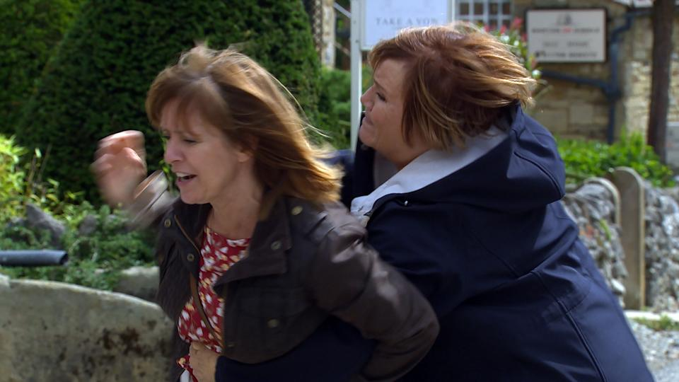 FROM ITV  STRICT EMBARGO Print media - No Use Before Tuesday Tuesday 7th September 2021 Online Media - No Use Before 0700hrs  Tuesday 7th September  2021  Emmerdale - 915354  Thursday 16th September 2021  On Main Street a confrontation develops as Cathy tries to run away from Rhona Goskirk [ZOE HENRY]. Brenda Hope [LESLEY DUNLOP] steps in as Rhona grabs Cathy to stop her from running away again, before Rhona elbows Brenda off, catching her in the face. When Brenda goes to grab Rhona again, she shoves her and Brenda falls roughly to the floor. All are left shocked after the incident.   Picture contact David.crook@itv.com   This photograph is (C) ITV Plc and can only be reproduced for editorial purposes directly in connection with the programme or event mentioned above, or ITV plc. Once made available by ITV plc Picture Desk, this photograph can be reproduced once only up until the transmission [TX] date and no reproduction fee will be charged. Any subsequent usage may incur a fee. This photograph must not be manipulated [excluding basic cropping] in a manner which alters the visual appearance of the person photographed deemed detrimental or inappropriate by ITV plc Picture Desk. This photograph must not be syndicated to any other company, publication or website, or permanently archived, without the express written permission of ITV Picture Desk. Full Terms and conditions are available on  www.itv.com/presscentre/itvpictures/termsFROM ITV  STRICT EMBARGO Print media - No Use Before Tuesday Tuesday 7th September 2021 Online Media - No Use Before 0700hrs  Tuesday 7th September  2021  Emmerdale - 915354  Thursday 16th September 2021  Moira Dingle [NATALIE J ROBB] insists to Chas Dingle [LUCY PARGETER] that Matty is entitled to compensation for his injuries which will leave him unable to work.   Picture contact David.crook@itv.com   This photograph is (C) ITV Plc and can only be reproduced for editorial purposes directly in connection with the programme or event mentioned