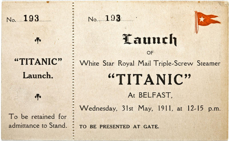 "In this Jan. 31, 2012 photo provided by Bonhams auction house, a ticket to the May 31, 1911 launch of the R.M.S. Titanic is shown. The ticket will be among the Titanic related artifacts be put up on the block by Bonhams during their ""R.M.S. Titanic: 100 Years of Fact and Fiction"" auction in New York on Sunday, April 15, 2012. (AP Photo/Bonhams Auction House)"
