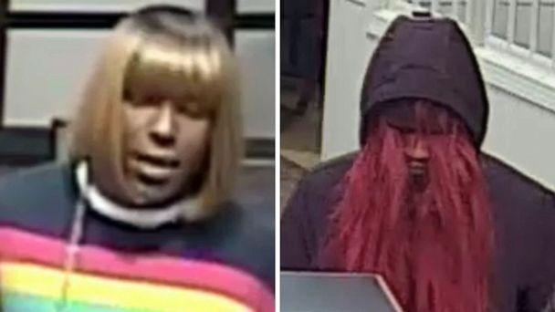 PHOTO: Surveillance video released by the FBI shows a suspect wearing a wig during bank robberies in Huntersville, N.C., on Dec. 13, 2019 and in Belmont, N.C., on Jan. 7, 2020. (FBI Charlotte)