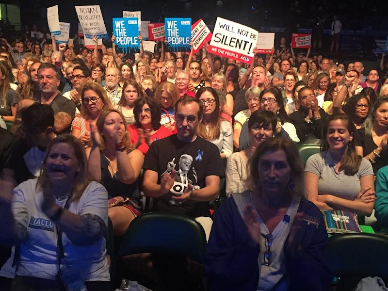 With 1,500 attendees, ACLU launched People Power, a grassroots mobilization platform designed to help organize actions against US President Donald Trump (AFP Photo/Leila MACOR)