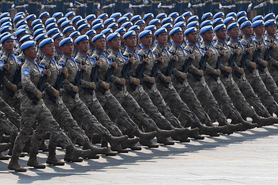 Chinese People's Liberation Army personnel participate in a military parade at Tiananmen Square in Beijing on October 1, 2019, to mark the 70th anniversary of the founding of the Peoples Republic of China. (Greg baker/AFP via Getty Images)