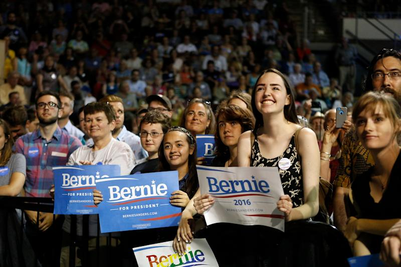 Supporters of Democratic presidential candidate Sen. Bernie Sanders attend a campaign rally on July 6, 2015, in Portland, Maine.